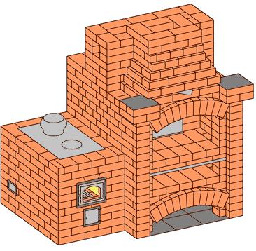 №159(А) Беседочная мини-русская печь-барбекю с площадкой для установки металлического мангала