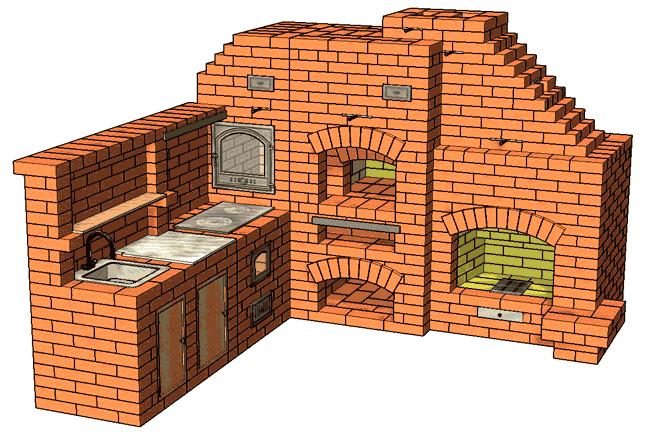 №182 Печной комплекс с двухканальной дымовой трубой