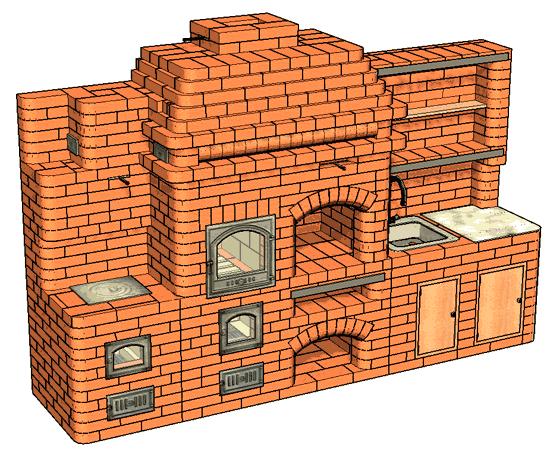 №183 Барбекю-комплекс: печь барбекю с жаровой (хлебной) камерой, приставной кухонной плитой, мойкой и разделочным столиком
