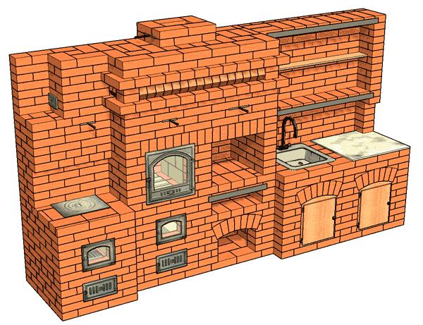 №184 Печь барбекю с жаровой (хлебной) камерой, приставной кухонной плитой, мойкой и разделочным столиком