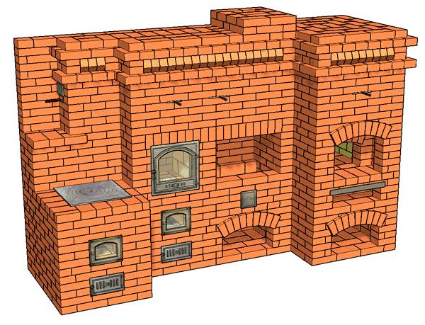 №197(Б) Барбекю-комплекс: мини-русская печь с барбекю, коптильней и плитой для казана