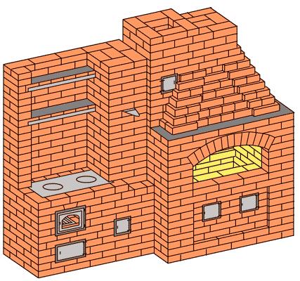 №209(А) Беседочный барбекю-камин с приставной кухонной плитой