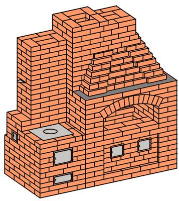 №209(Б) Беседочный барбекю-камин с приставной кухонной плитой