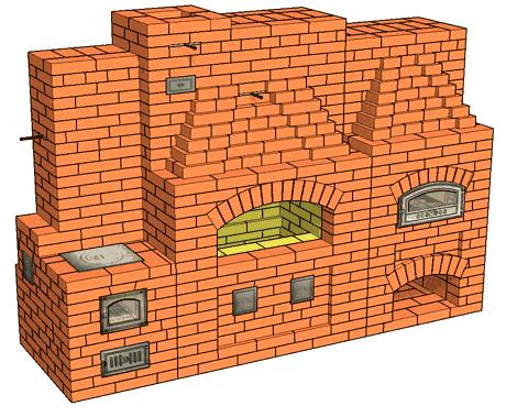 №210 Беседочный барбекю-камин с хлебной печью
