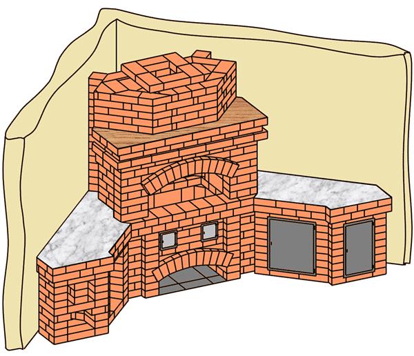 №224 Барбекю-камин угловой
