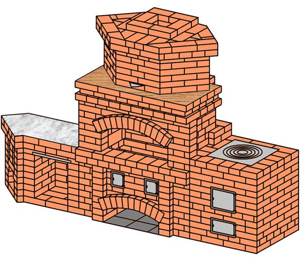 №225(Б) Барбекю-камин с плитой для казана