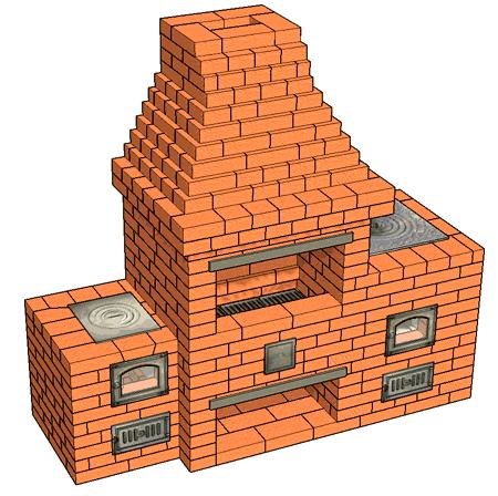 №226(Б) Печной комплекс: Барбекю-камин с кухонной плитой и плитой для казана