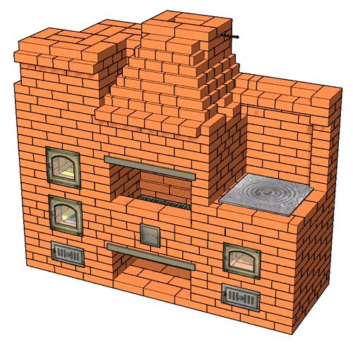 №227 Печной комплекс: Барбекю-камин с жаровой (хлебной) печью и плитой для казана