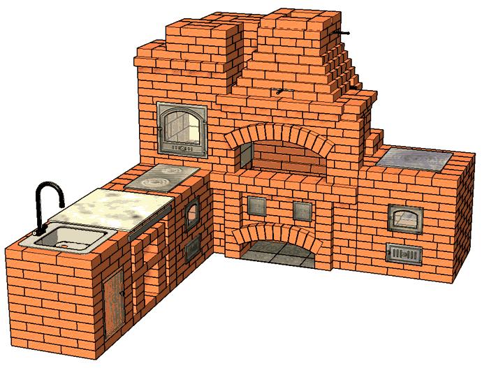 №228 Барбекю-комплекс (угловой): барбекю-камин с жаровой (хлебной) печью, плитой для казана и мойкой с разделочным столиком