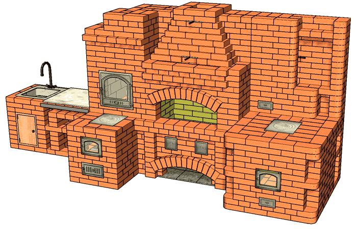 №229(Б) Барбекю-комплекс: барбекю-камин с жаровой (хлебной) печью, печью-тандыром и мойкой с разделочным столиком