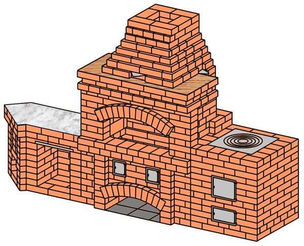 №225(А) Барбекю-камин с плитой для казана