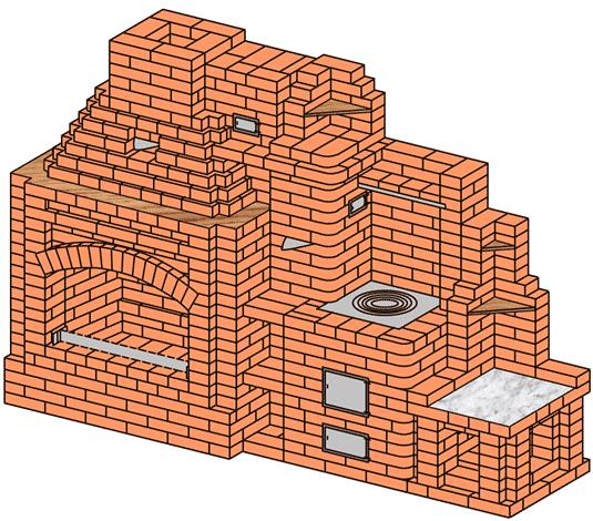 №238 Камин-жаровня с плитой для казана
