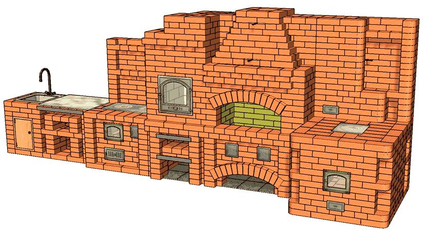 №229(А) Барбекю-комплекс: барбекю-камин с жаровой (хлебной) печью, печью-тандыром, приставной кухонной плитой и мойкой с разделочным столиком