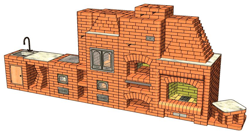№249 Барбекю-комплекс: мини-русская печь-барбекю с коптильней, камином, плитой для казана, мойкой и разделочным столиком